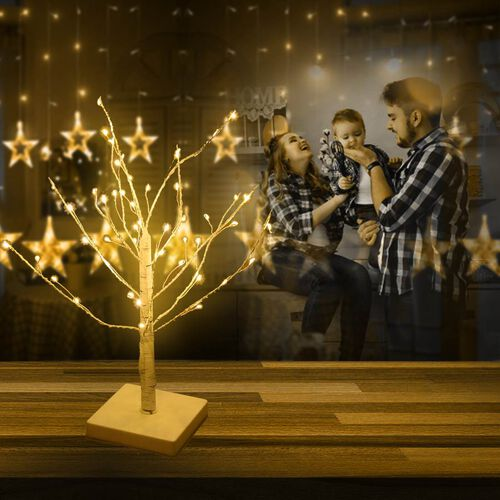 45 cm Tall Tree with 48 LED Warm Lights - Birch  (3xAA Battery not Included)
