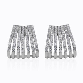 ELANZA Simulated Diamond (Rnd) Earrings (with Push Back) in Rhodium Overlay Sterling Silver, Silver wt 5.00 Gms.