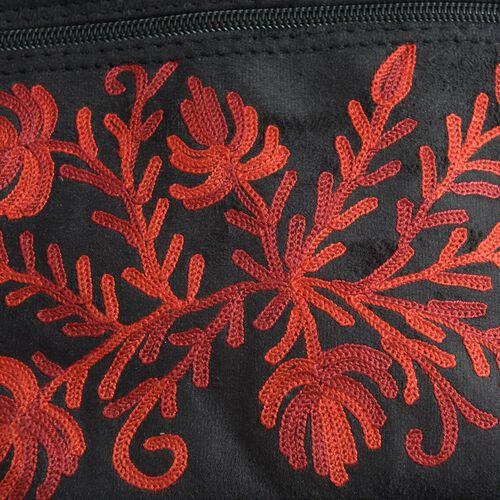 Red Colour Flowers Hand  Embroidered Bag with External Zipper Pocket and Shoulder Strap (25x21 Cm)