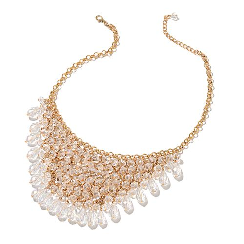 Simulated White Diamond BIB Necklace (Size 20 with 3 inch Extender) in Yellow Gold Tone