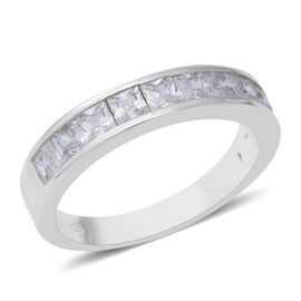 ELANZA Simulated Diamond (Sqr) Half Eternity Band Ring in Rhodium Overlay Sterling Silver