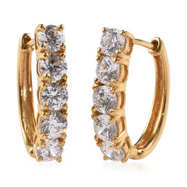 J Francis 2.50 Ct Made with SWAROVSKI ZIRCONIA Hoop Earrings with Clasp in 14K Gold Plated Silver