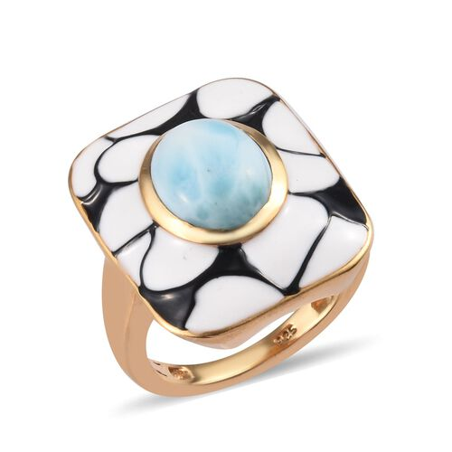3.25Ct Larimar Enamelled Solitaire Ring in Gold Plated Sterling Silver