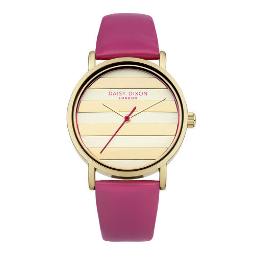 Daisy Dixon Poppy Pink Strap With Striped Dial Ladies Watch
