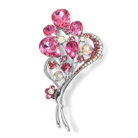 Magic Colour Crystal, Fuchsia Colour Crystal and Simulated Diamond Floral Heart Brooch in Silver Plated.