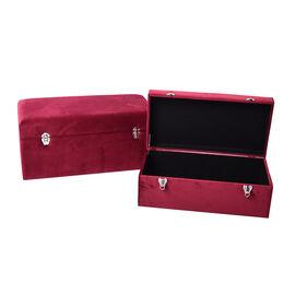Set of 2 Dark Red Velvet Fabric Covered Wooden Trunks