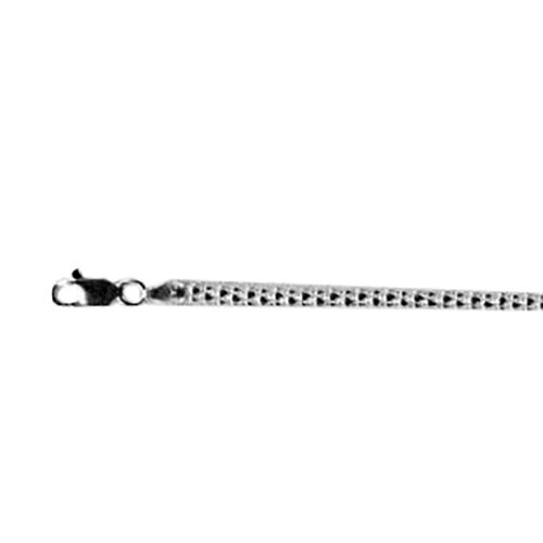 Korean Chain Necklace in Rhodium Plated Sterling Silver 18 Inch