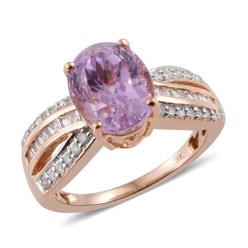4 Carat Kunzite and Diamond Criss Cross Ring in 9K Rose Gold 3.3 Grams