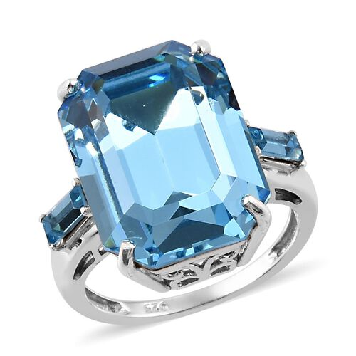 J Francis Aquamarine Crystal from Swarovski Solitaire Ring in Platinum Plated Sterling Silver
