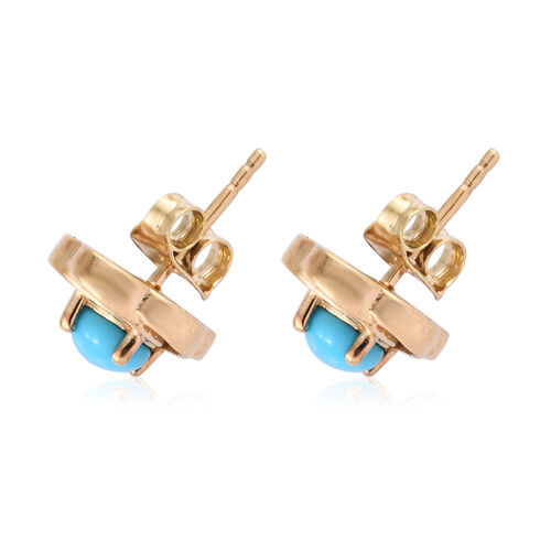 AA Arizona Sleeping Beauty Turquoise (Rnd) Stud Earrings (with Push Back) in 14K Gold Overlay Sterling Silver 1.000 Ct.