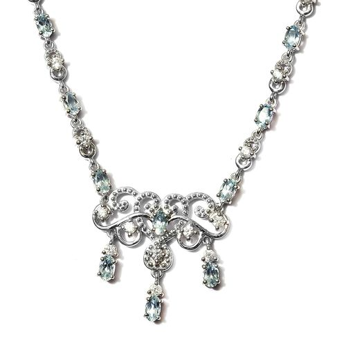 Santa Teresa Aquamarine and Natural Cambodian Zircon Necklace (Size 18) in Platinum Overlay Sterling