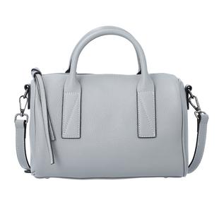 Sencillez Solid Grey 100% Genuine Leather Convertible Bag with Zipper Closure