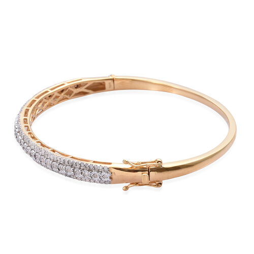 Diamond (Rnd) Bangle (Size 7.5) in 14K Gold Overlay Sterling Silver   1.000 Ct, Silver wt 13.00 Gms, Silver wt 15.00 Gms, Number of Diamonds 159