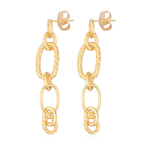 RACHEL GALLEY Yellow Gold Overlay Sterling Silver Dangle Link Earrings (with Push Back), Silver wt 11.05 Gms