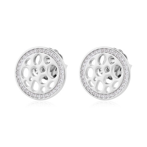 RACHEL GALLEY - Natural Cambodian Zircon Stud Earrings (with Push Back) in Rhodium Overlay Sterling Silver