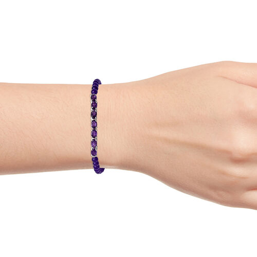 Amethyst (Ovl), Purple Agate Beads Bracelet (Size 7.5) in Sterling Silver 17.750  Ct.