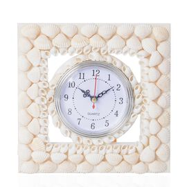 Hand Crafted Natural White Shell Decorated Wall Clock (Size 23x23 Cm) - Square