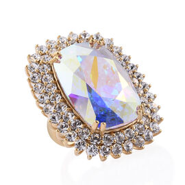 J Francis - Crystal from Swarovski AB Crystal (Cush 27x18 mm), White Crystal Ring in 14K Gold Overla
