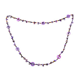 One Time Deal- Amethyst Colour Beads Necklace (Size 46)
