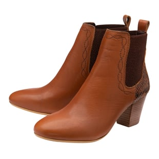 Ravel Moa Snake Pattern Leather Heeled Ankle Boots Tan