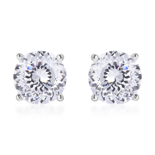 TJC Launch- AAAA Radiant Cut Simulated Diamond Stud Earrings (with Push Back) in Rhodium Overlay Ste