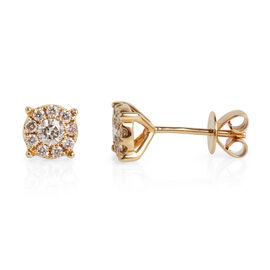 14K Yellow Gold (I1/G-H) Diamond (Rnd) Stud Earrings (with Push Back) 0.510 Ct.