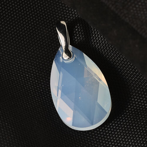 J Francis - Crystal From Swarovski - Swarovski White Opal Crystal (Pear 28x8) Solitaire Pendant in Platinum Overlay Sterling Silver