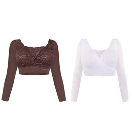 DOD - 2 Piece Set- SANKOM SWITZERLAND Patent Classic Bra with Full Lace Cover Including Taupe and White Colour