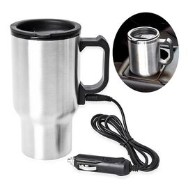 Stainless Steel Electric Mug with Car Charger (Size 6.5x8x16.5 Cm) - Silver and Black