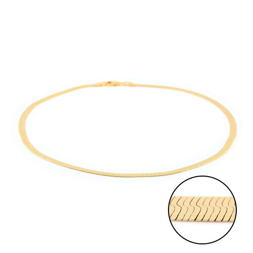 Italian Made - Gold Overlay Sterling Silver Herringbone Necklace (Size 18), Silver wt. 9.14 Gms