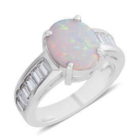 Simulated Opal (Ovl), Simulated Diamond Ring in Silver Bond
