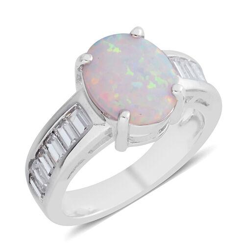 Karis Created Opal (2.36 Ct),Simulated Diamond Brass Ring  3.080  Ct.