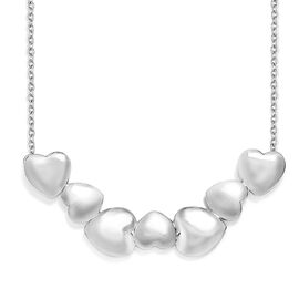 Platinum Overlay Sterling Silver Heart Necklace with Chain (Size 18), Silver wt 8.80 Gms.