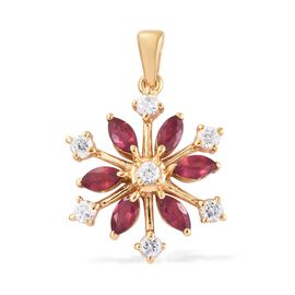 AA African Ruby (Mrq), Natural Cambodian Zircon Snowflake Pendant in 14K Gold Overlay Sterling Silve