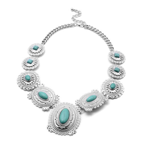 One Time Deal- Howlite Necklace (Size 21 with 3 inch Extender) in Silver Tone