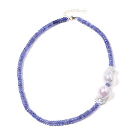 9K Yellow Gold AAA Baroque Freshwater Pearl and Tanzanite Necklace (Size 18 with 2 inch Extender) 30