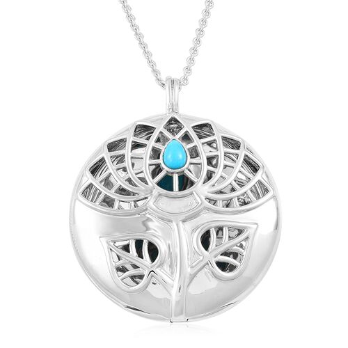 RACHEL GALLEY Arizona Sleeping Beauty Turquoise (Pear) Lotus Pendant with Chain (Size 30) in Rhodium Plated Sterling Silver, Silver wt 30.00 Gms.