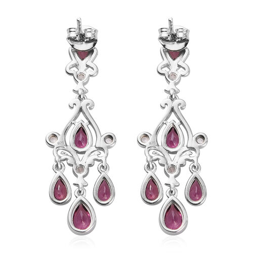 Rhodolite Garnet and Natural Cambodian Zircon Dangle Earrings (with Push Back) in Platinum Overlay Sterling Silver 3.25 Ct, Silver wt. 5.80 Gms