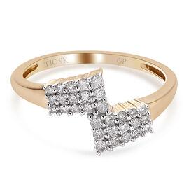 GP 9K Yellow Gold SGL Certified Diamond (I3/G-H) and Kanchanaburi Blue Sapphire Ring  0.27 Ct.