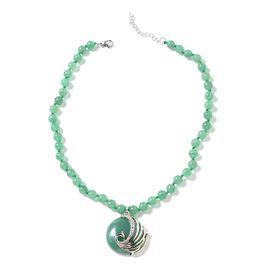 Green Aventurine (Rnd), White Austrian Crystal Peacock Beads Necklace (Size 18 with 1.5 inch Extende