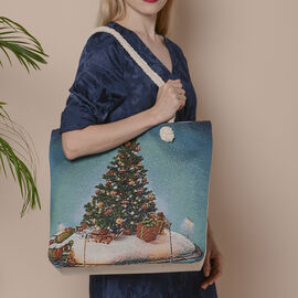 Christmas Collection Christmas Tree Print Jute Tote Bag (Size 42x34x9x37cm) - Multi Colour