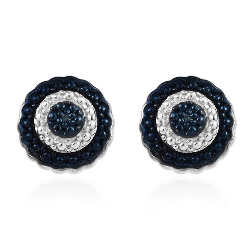 Blue Diamond Stud Earrings in Platinum and Blue Plated Silver With Push Back