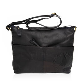 MCS Country Classics: 100% Genuine Leather Handbag - Navy