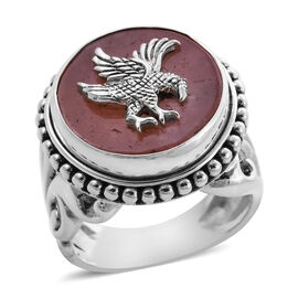 Royal Bali Collection - Orange Jade Garuda Ring in Sterling Silver 13.00 Ct, Silver wt. 11.00 Gms