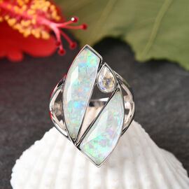 Sajan Silver ILLUMINATION Collection - Doublet Quartz and Rainbow Snow Ring in Rhodium Overlay Sterling Silver 10.12 ct.