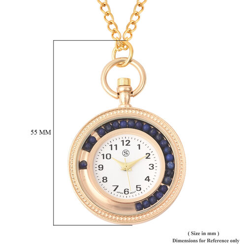 STRADA Japanese Movement Pocket Watch with Chain (Size 30) and Moving Lapis Lazuli Beads Around the Dial in Yellow Gold Tone