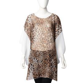 New Season: Sheer Leopard Print Kaftan - Dark Brown with White Sleeves (Size 80x66 Cm)