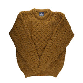 ARAN 100% Pure New Wool Sweater Mustard