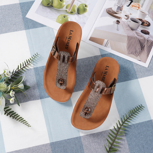 LA MAREY Flat Womens Slippers (Size 3) with Buckle - Bronze