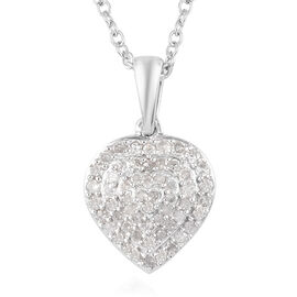 Diamond Pendant and Chain (Size 18) in Platinum Overlay Sterling Silver 0.50 Ct.